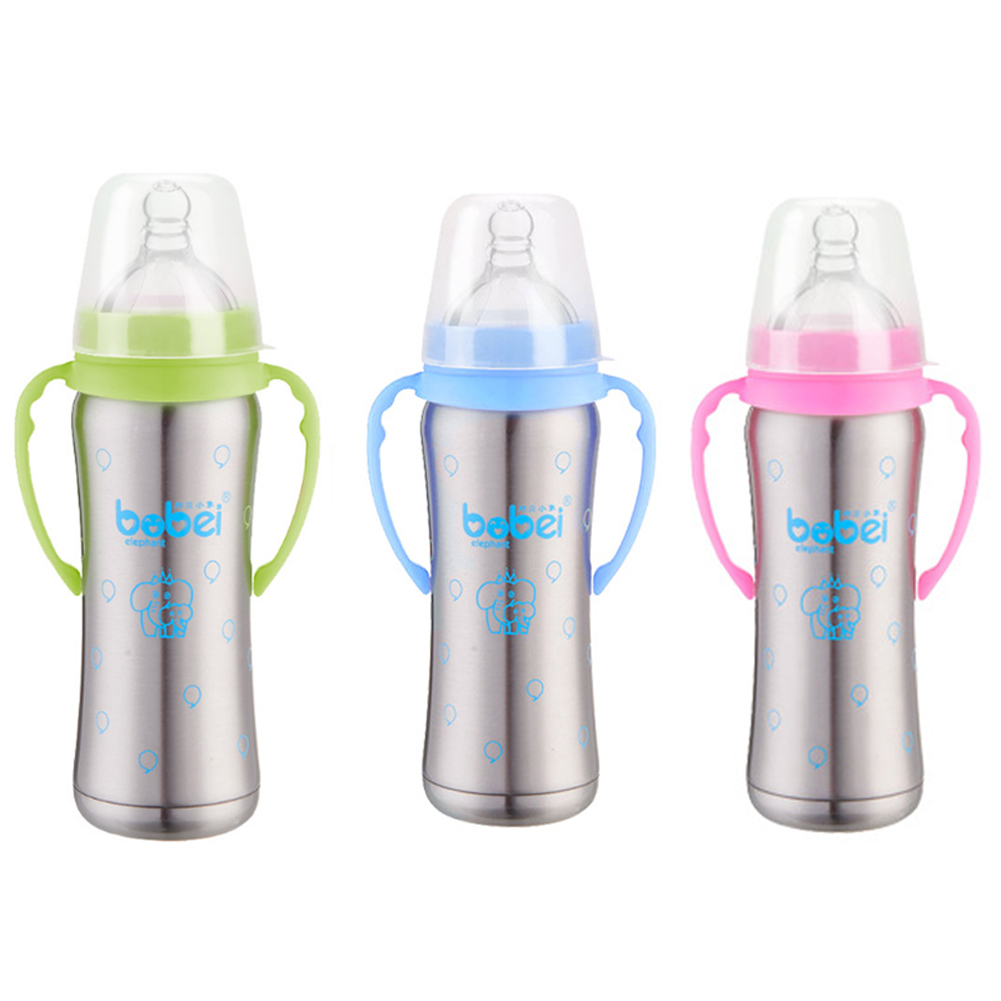 Baby Feeding Bottle Stainless Steel Thermal Milk Bottles Handle Anti-flatulence Nipple Straw Bottle M09