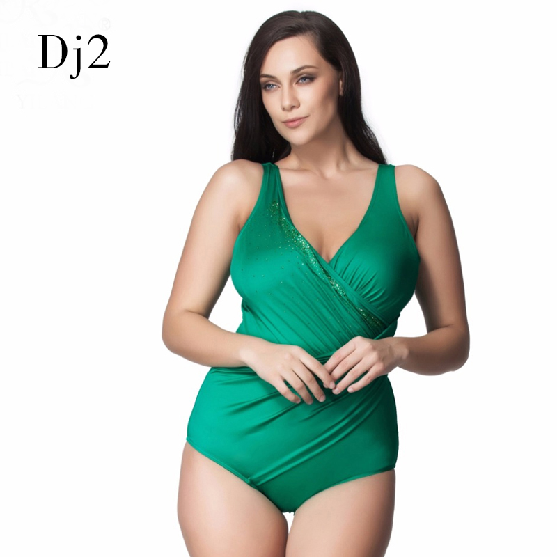 Brand Mature Female Plus Size Swimwear Women One Piece Swimsuit Wrap Pleated Bathing Suit Sexy Padded Swimwear Backless Bodysuit women one piece triangle swimsuit cover up sexy v neck strappy swimwear dot dress pleated skirt large size bathing suit 2017