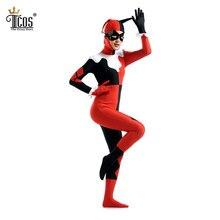 Harley Quinn Cosplay Mujer Fiesta de Disfraces de Halloween Cumpleaños Carnaval Zentai Body Zip Volver Segunda Piel Traje Apretado