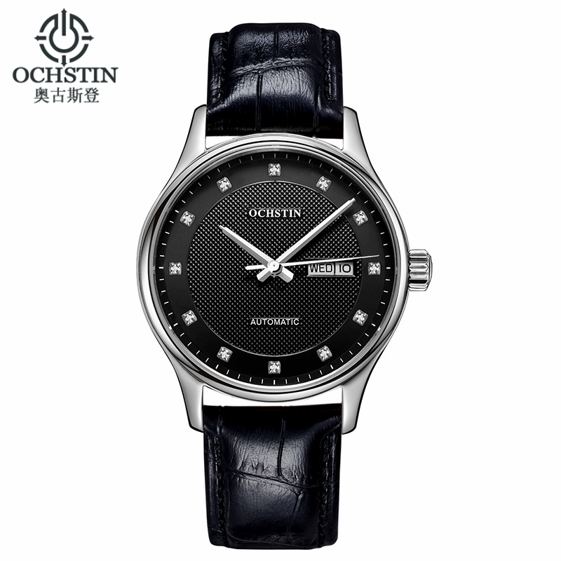 цена на Ochstin Classic Automatic Watch Men Military Genuine Leather Strap Watches Luxury Brand Dress Wristwatches Women Reloj Hombre