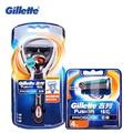 Genuine flexball gillette fusion proglide barbear lâminas de barbear para homens marcas de máquinas de barbear safety razor 1 titular + 5 lâminas