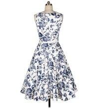 2017 Summer Women Vintage Dress Sleeveless 50 60s Audrey Tunic Dress Tropical Floral Vestidos Party Dresses Office Lady Feminino
