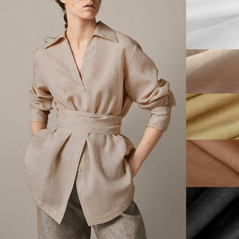 130CM Wide 280G M Solid Color White Brown Black Linen Fabric for Summer and Spring Dress