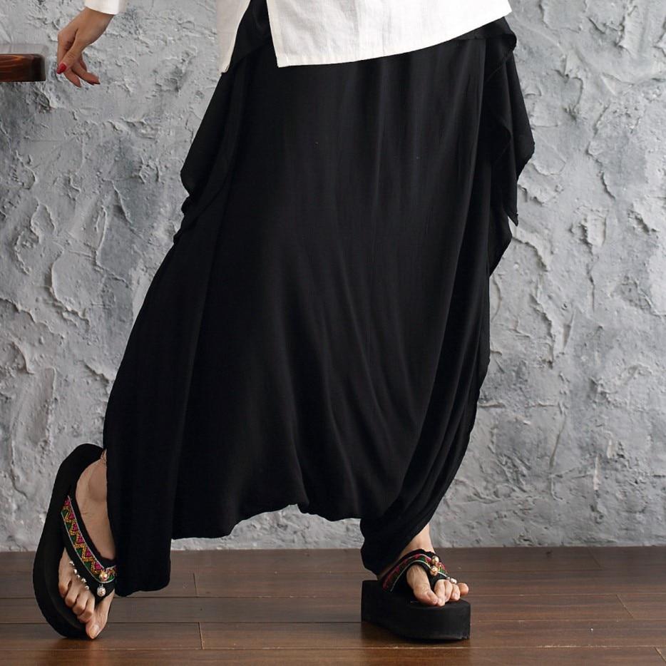 Coton lin Harem pantalon taille élastique jambe large pantalon Vintage Stretch lâche femmes été décontracté Pantlone Femme X64
