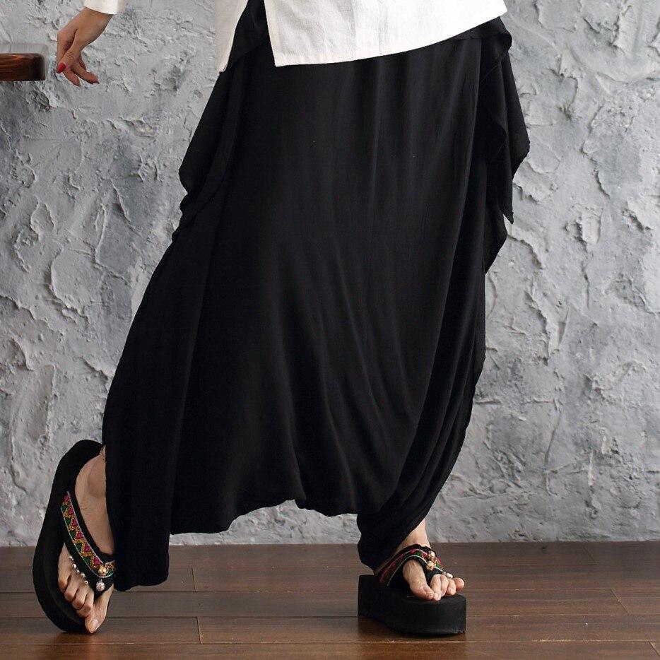 Cotton Linen Harem Trousers Elastic Waist   Wide     Leg     Pants   Vintage Stretch Loose Women Summer Casual Pantlone Femme X64
