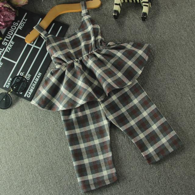 2016 chegada nova verão crianças menina define moda algodão xadrez blusa sem alças e Wide calças perna, Camiseta tops 2 pcs crianças terno