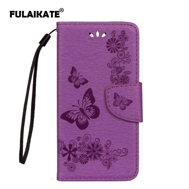 FULAIKATE Flip Case for Wiko Harry Embossed Butterfly Back Cover Leather Holster Mt Stand Cases