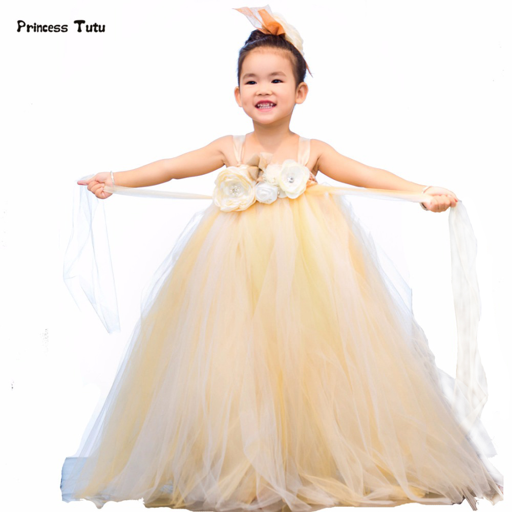 Champagne Tutu Dress Kids Tulle Flower Girl Dresses Wedding Pageant Gowns Formal Princess Dress Baby Girl Party Dress Vestidos new wedding party formal flowers girl dress baby pageant dresses birthday cummunion toddler kids tulle custom dress hb2059