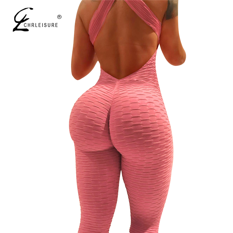 CHRLEISURE Women's   jumpsuit   Sexy Cross Backless   Jumpsuit   Women Push Up   Jumpsuit   Elasticity Workout Playsuits