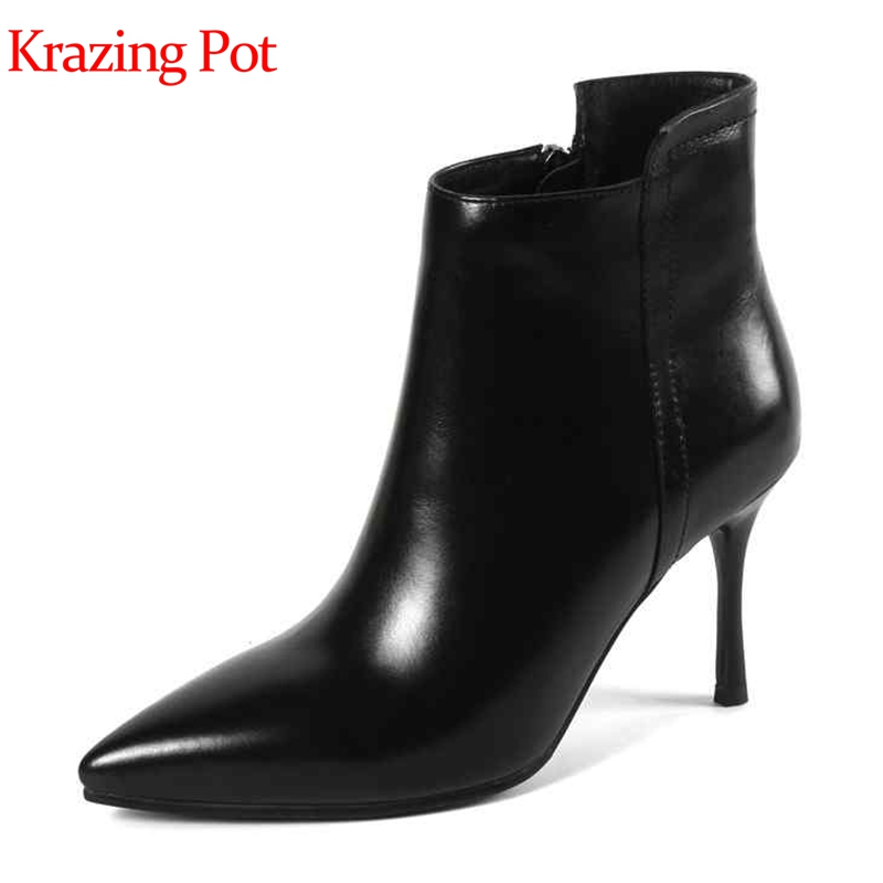 Krazing pot cow leather big size super high heels women ankle boots style fashion boots pointed toe sweety girl winter shoes L21 krazing pot cow suede fashion winter big size round toe art square high heels embroidery women flowers ankle chelsea boots l15