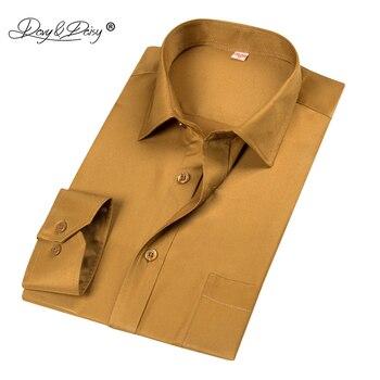 DAVYDAISY 2018 New Arrival Men Shirts 100% Polyester Fiber Shirt Male Business Work Shirt Long Sleeved Solid Formal Shirt DS196