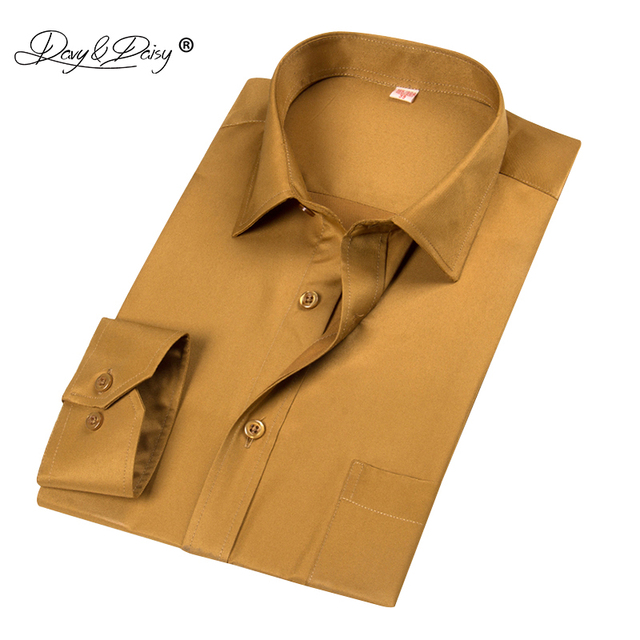 DAVYDAISY 2018 New Arrival Men Shirts 100% Polyester Fiber Shirt Male Business Work Shirt Long Sleeved Solid Formal Shirt DS196