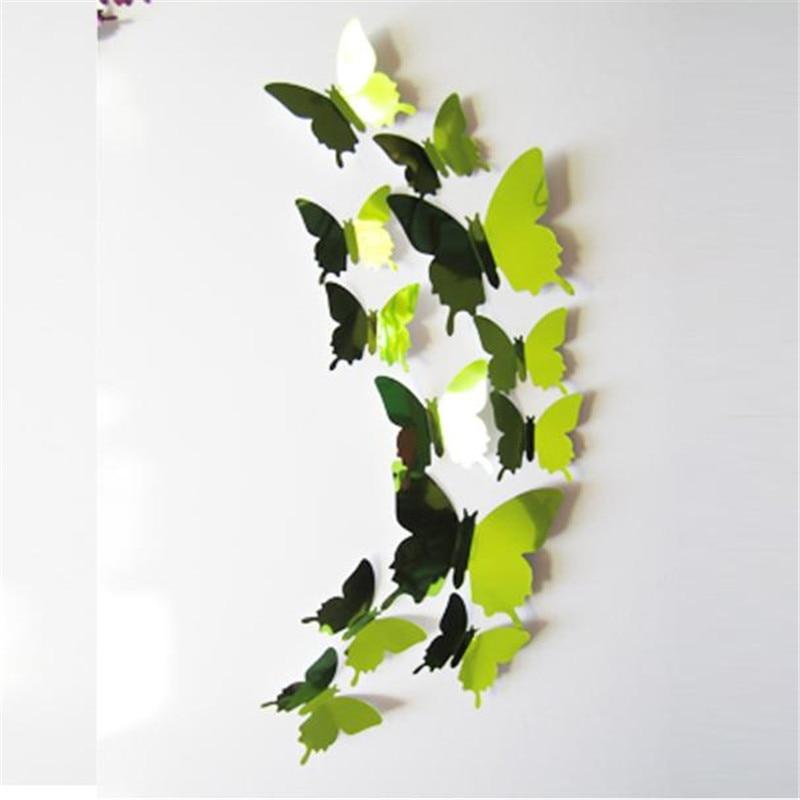 Hot sale Reflecting Butterfly Wall Stickers Decal Butterflies 3D Mirror Wall Art Home Decors sticker drop ship sale