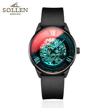 SOLLEN Men Classic Automatic Mechanical Watches Brand Luxury Man Stainless Steel Wristwatch Clock Relogio Masculino
