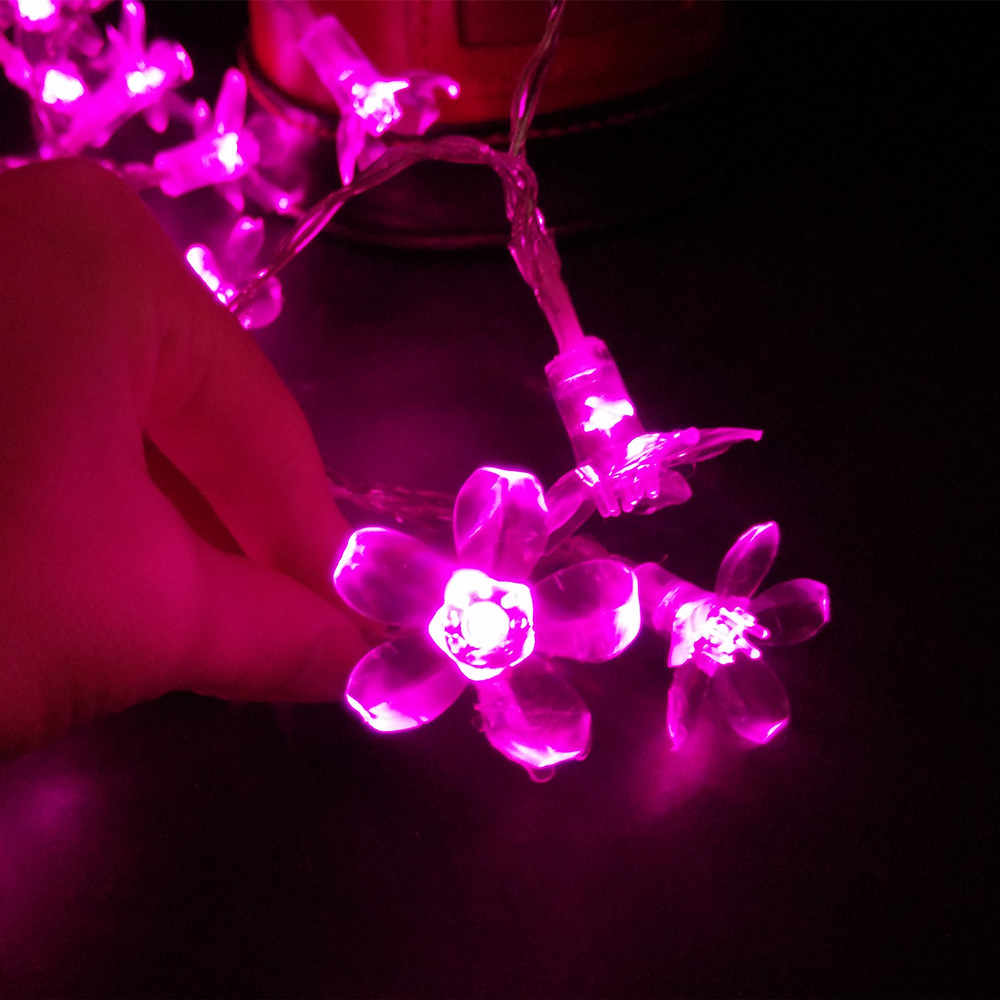 YIYANG 1.5-10M Cherry Blossom Flower Garland Battery LED String Fairy Lights Crystal Garland Outdoor Christmas Decor Multi-color