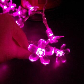 YIYANG 1,5-10M guirnalda de flores de cerezo en flor guirnaldas de luces LED con batería guirnalda de cristal decoración de Navidad al aire libre multicolor