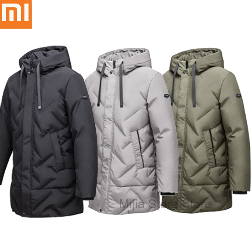88aada905 Xiaomi 90 Point Men Down Jacket with Hat Three-dimensional Zip Jacket Multi  Pocket Super Warm Upper Fluffy Long Section Coat H10