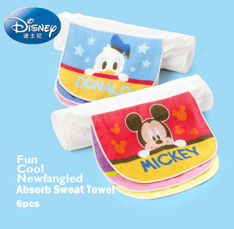 Disney 6Pcs 100%Cotton Baby Wicking Towel Absorb Sweat Back Towel Perspiration Wipes Reusable Mickey Cartoon Print Baby Towel