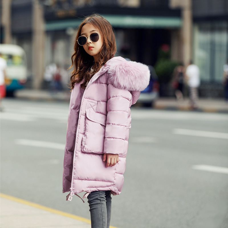 New 2018 Fashion Children Winter Jacket Girl Winter Coat Kids Warm Thick Fur Collar Hooded long down Coats For Teenage 4Y-14YNew 2018 Fashion Children Winter Jacket Girl Winter Coat Kids Warm Thick Fur Collar Hooded long down Coats For Teenage 4Y-14Y