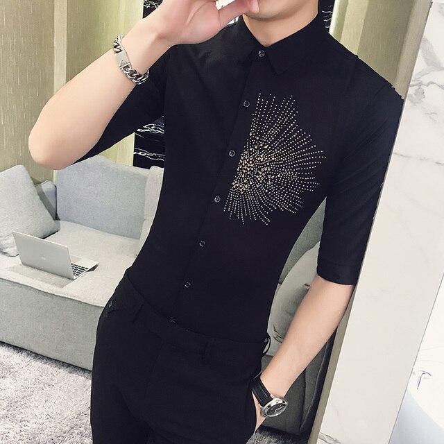 a9e9006ebe87 High Quality Shirt Men Korean Slim Fit Half Sleeve Tuxedo Shirt Turn Down  Collar Casual Night Club Dress Shirts Mens Clothing