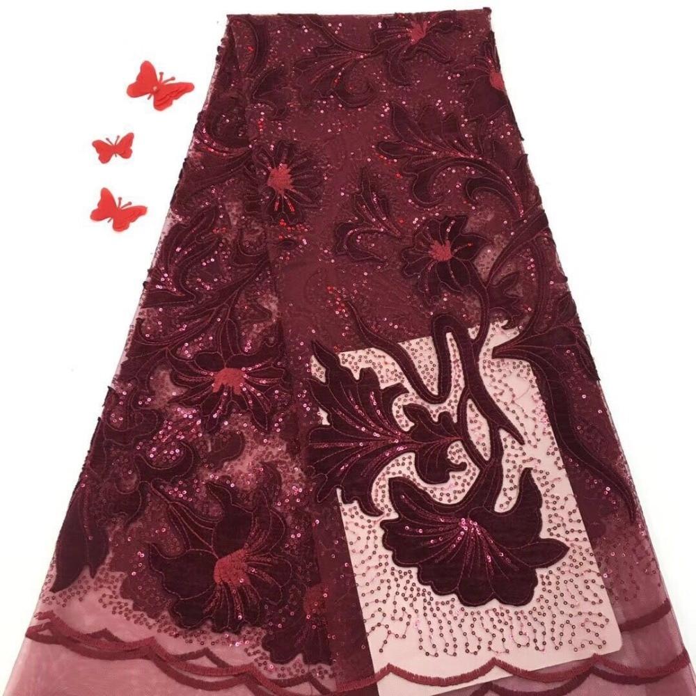 2019 hoogwaardige rood gaas Afrikaanse kant stof 3D lovertjes borduurwerk Franse Nigeriaanse kant stof, jurk stof YYZ2351-in Kant van Huis & Tuin op  Groep 1