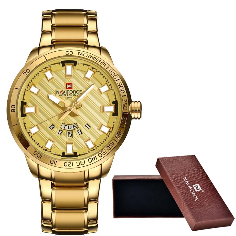 New NAVIFORCE Luxury Brand Watches Men Sport Full Steel Quartz Watch Man 3ATM Waterproof Clock Men's Military Wrist watches