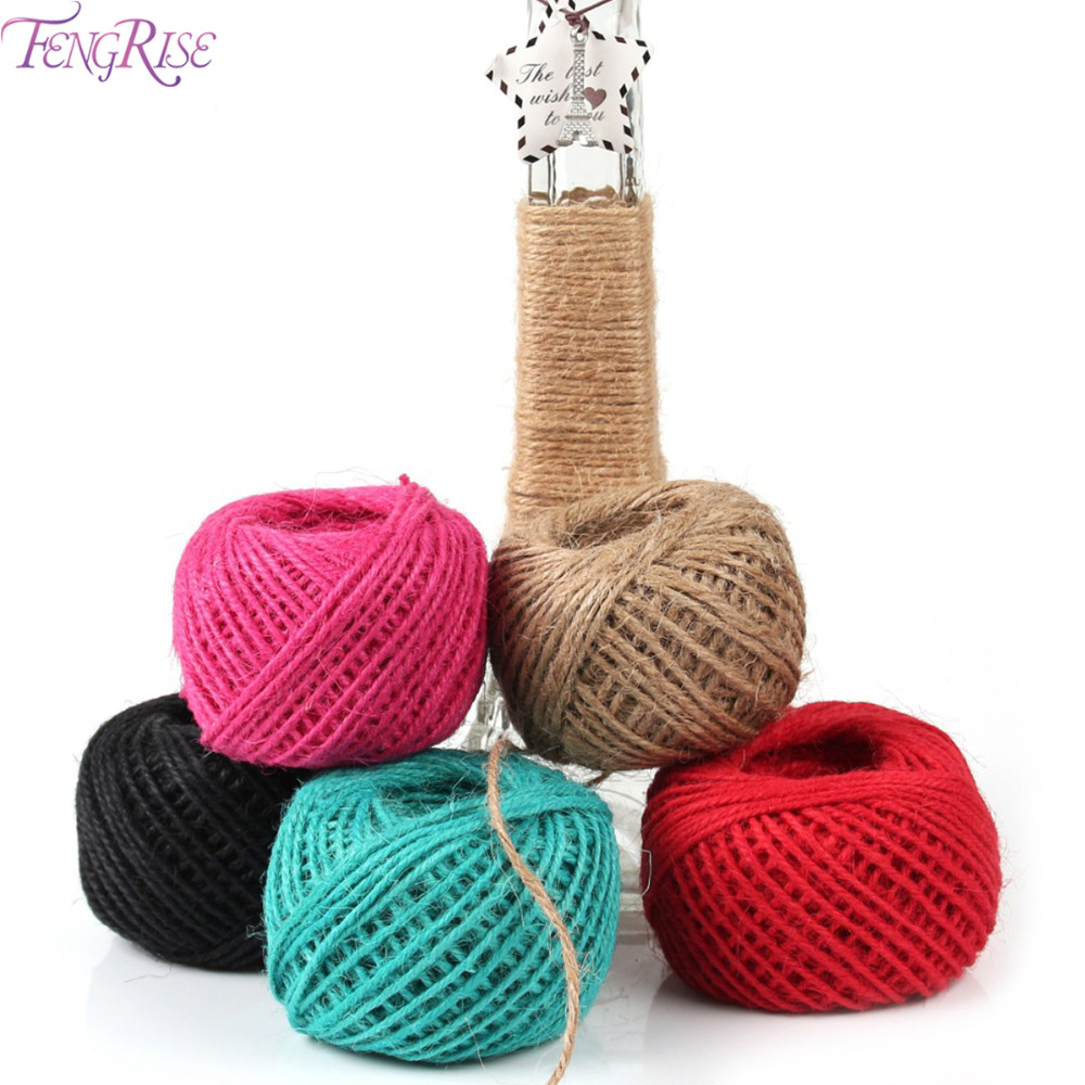 Buy fengrise burlap jute twine 50m for Sisal decoration