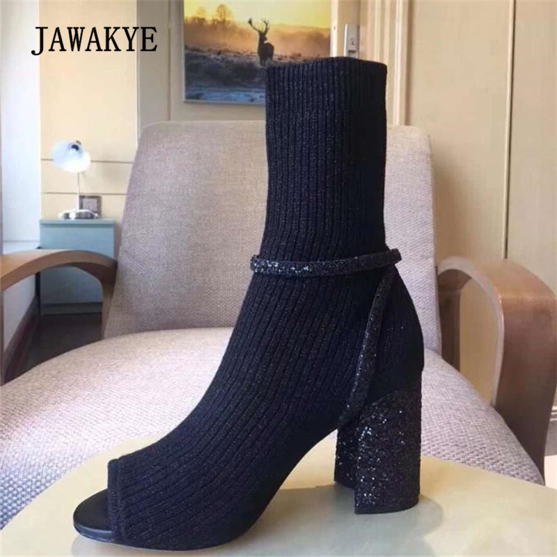 2018 Spring Glittering Sock Boots Woman Open Toe Sequined Chunky High Heels Ankle Boots Women 2018 Spring Glittering Sock Boots Woman Open Toe Sequined Chunky High Heels Ankle Boots Women