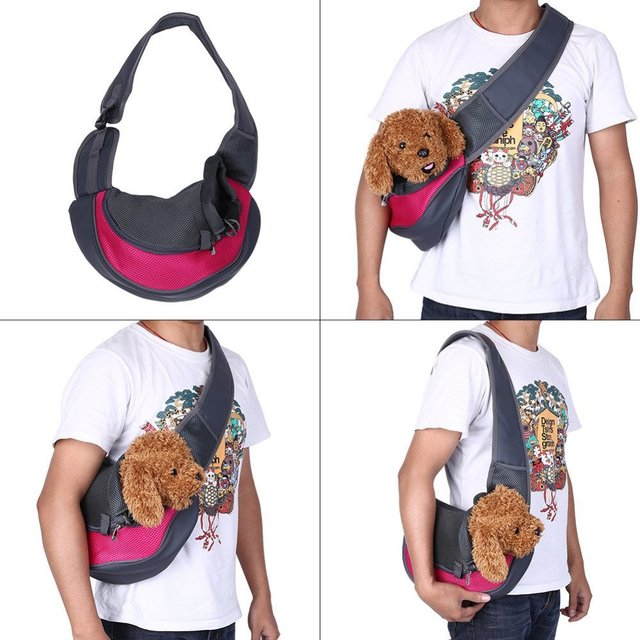 Pet Puppy Carrier Outdoor Travel Handbag Pouch Mesh Oxford Single Shoulder Bag Sling Mesh Comfort Travel Tote Shoulder Bag  5