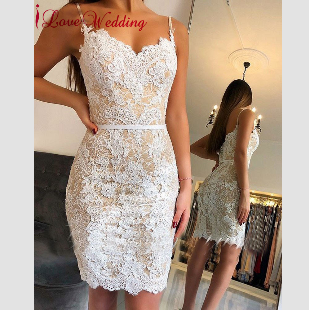 Vestidos De Coctel 2019 Sweetheat Spaghetti Straps White Lace Applique Custom made Knee Legnth Elegant   Cocktail     Dresses