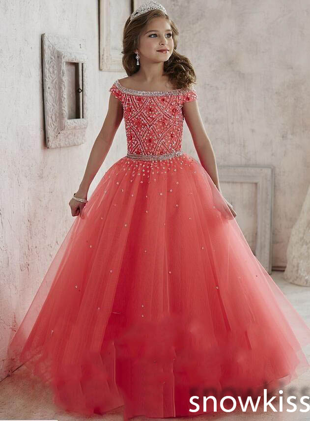 New Princess beading crystals glitz party pageant dress for juniors off the shoulder long tulle ball gowns kids frock design платье frock and frill frock and frill fr055ewdlds8