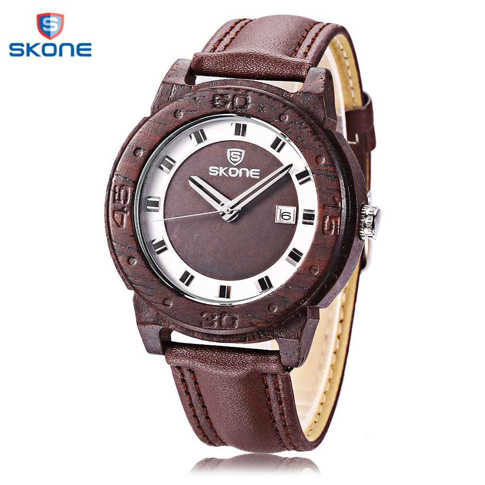 SKONE Men Wooden Quartz Watch Fashion Date Day Luminous Display Working Sub-dial Wood Wristwatch skone 5051 luminous pointers quartz watch men rotatable bezel wristwatch