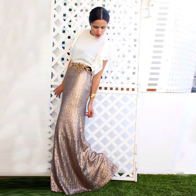 537953584 High Quality Rose Gold Sequins Skirt Custom Made Sequined Long Maxi Skirt  for Women to Formal Party Shiny Pencil Skirt