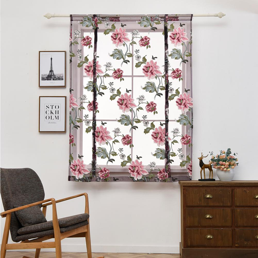 Detail feedback questions about lanlan peony pattern short sheer curtains roman blinds tulle curtains for kitchen window door decoration 30 on