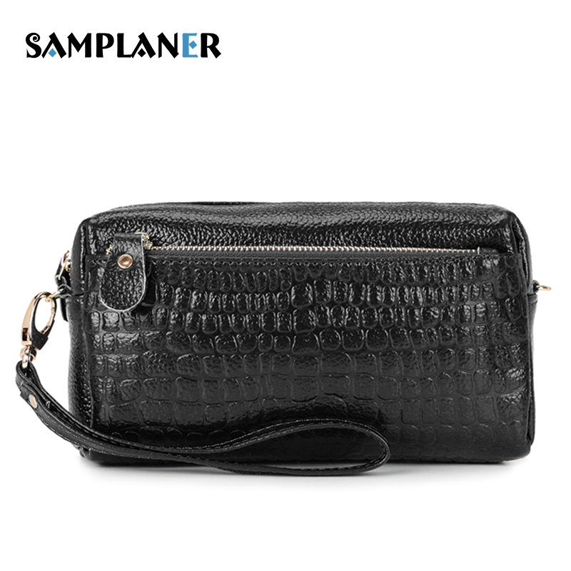 Samplaner Large Capacity Women Clutch Bag Real Cow Leather Wrist Bags Female Small Shoulder Bag Casual Zipper Red Clutches Women cardamom clutches women fashion solid colors shape of hobos zipper soft cow leather casual small clutches cell phone pocket