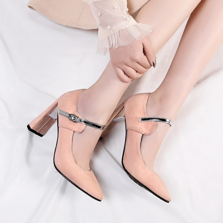 Grande taille 11 12 13 14 15 dames talons hauts femmes chaussures femme pompes bleu Patchwork rugueux talon haut chaussures simples