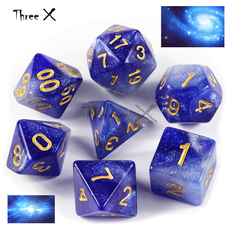 NaveltyCreative Dice Set  Of D4-D20 With Mysterious Royal Glitter Powder For DND RPG Boardgame