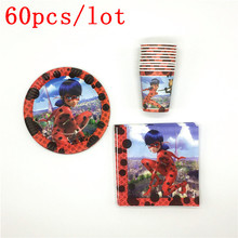 Tableware Sets Cup Plate Napkin Print Miraculous Ladybug Baby Shower Kid Birthday Party Decoration Family Party Supply 60Pcs/Lot