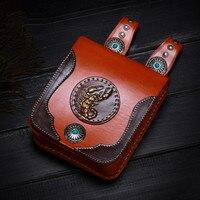 Handmad Women Men Handbags Cow Leather Messenger Shoulder Belt Bag Scorpion Turquoise Button Vegetable Tanned Leather