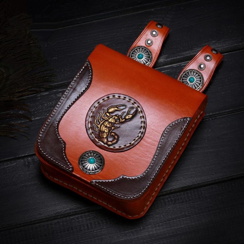 Handmad Women Men Handbags Cow Leather Messenger Shoulder Belt Bag Scorpion Turquoise Button Vegetable Tanned Waist Bags