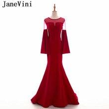 6e3a035d4a8 JaneVini sirène bordeaux mère de la mariée robes 2019 Vintage perlée Satin manches  longues transparent dos Sexy robes de soirée