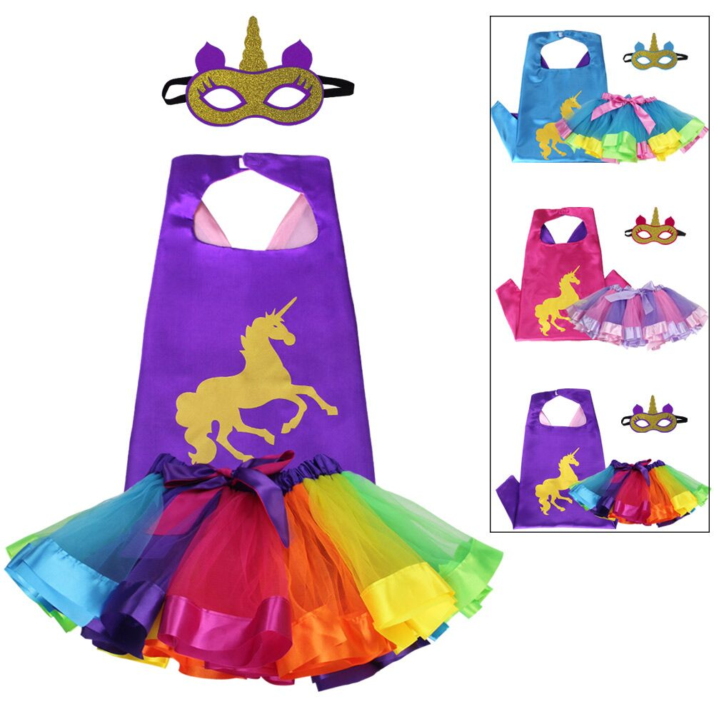 70*70 cm SPECIAL Girls Unicorn Cape Mask Fairy Tulle Dress Skirts Unicorn Gift Girl Dance Christmas Carnival Party Costumes
