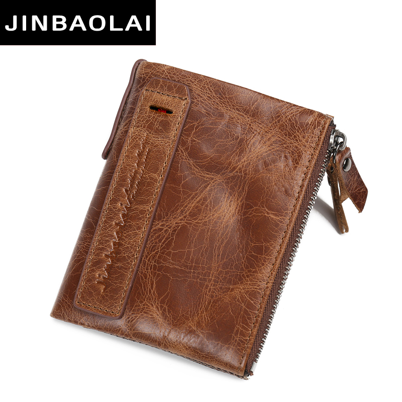 JINBAOLAI HOT Genuine Crazy Horse Cowhide Leather Men Wallet Short Coin Purse Small Vintage Wallets Brand High Quality Designer 2017 genuine cowhide leather brand women wallet short design lady small coin purse mini clutch cartera high quality