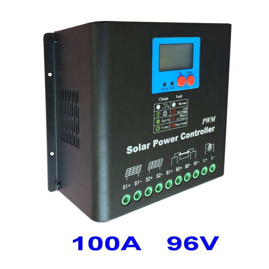100A 96V Solar Charge Controller, 96V Battery Regulator 100A for 10KW PV Solar Panels Modules,LED&LCD Display,Dual-fan cooling self dual z4 modules