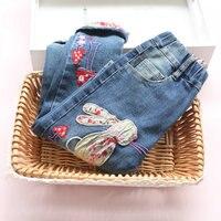 Neue 2016 Winter Baby Mädchen Jeans Marke Kinder Hosen Mode Stickerei kaninchen Muster Verdicken Hinzufügen wolle Kinder Warme Hose