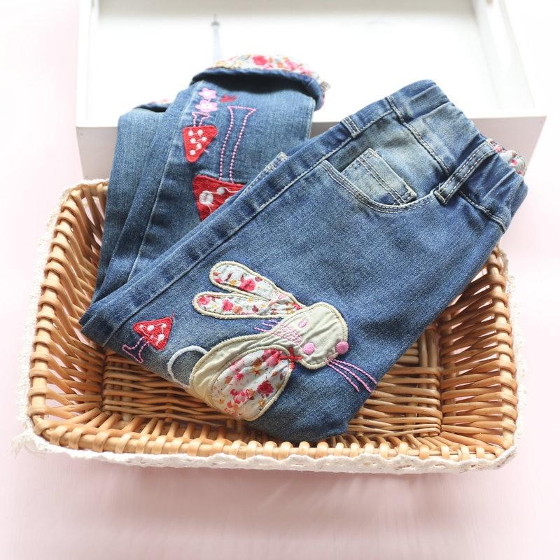 New 2016 Winter Baby Girls Jeans Brand Children Trousers Fashion Embroidery rabbit Pattern Thicken Add wool Kids Warm Pants