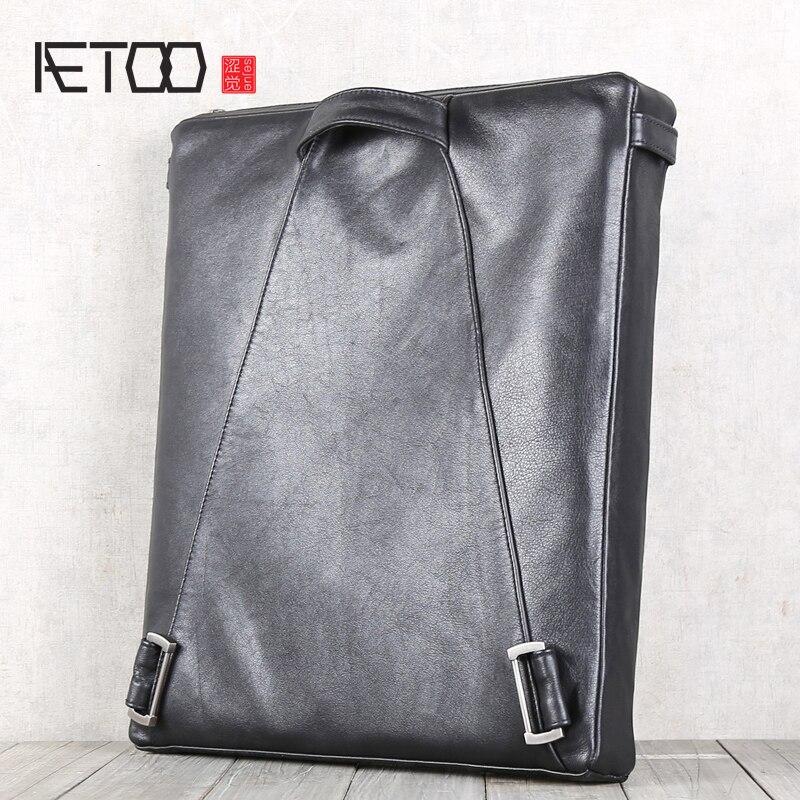 AETOO Head peau de vache épaules paquets épaule sac bandoulière en cuir sacs sac à dos décontracté hommes et femmes loisirs