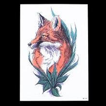 1pc Waterproof Temporary Tattoo Sticker HB232 Red Fox Wolf Pattern Water Transfer Fake Women Men Body Arm Art Tattoo Design Gift