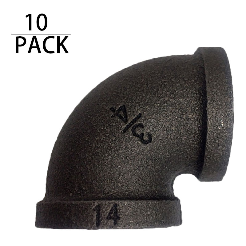 """1//2/"""" Threaded Black Malleable Iron 90-Degree Elbow Fitting"""