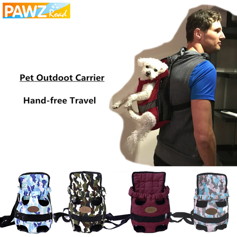 PAWZRoad Pet Dog Carriers Fashion Hand Free 4 Color Travel Outdoor Adjustable Dog Bags Backpack Breathable Bag Pet Puppy Carrier
